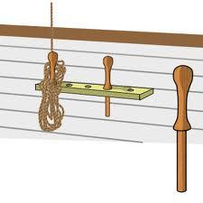 Comment s'appelle la grosse cheville en bois qu'on installe dans les trous des râteliers pour y tourner les cordages ?