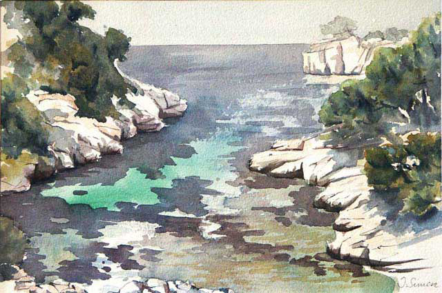 Calanque de Port Pin - Aquarelle