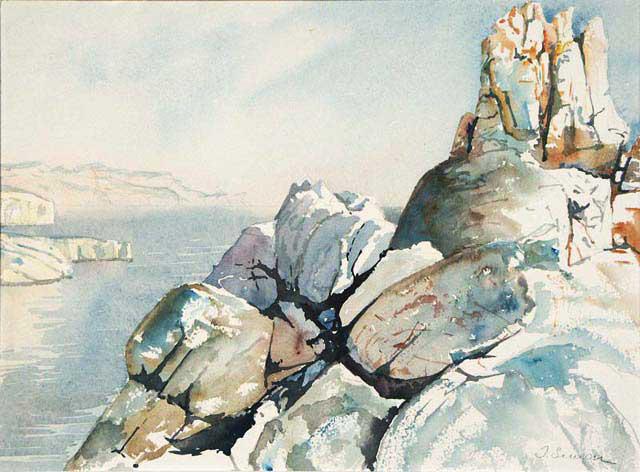Crête du Bec Sormiou avec le cap Morgiou et le Bec de l'Aigle à l'arrière plan - Aquarelle