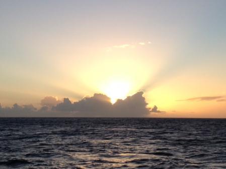 Magnifique coucher de soleil sur les caraibes