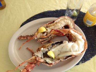 De belles langoustes de 1kg mangées dans une paillote de plage à Aneguada