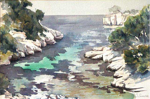 Calanque de Port Pin. Cassis - © Isabelle Simon 2001 - Aquarelle