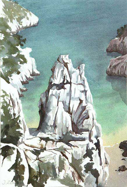 Calanque d'En Vau. La Petite Aiguille - Aquarelle