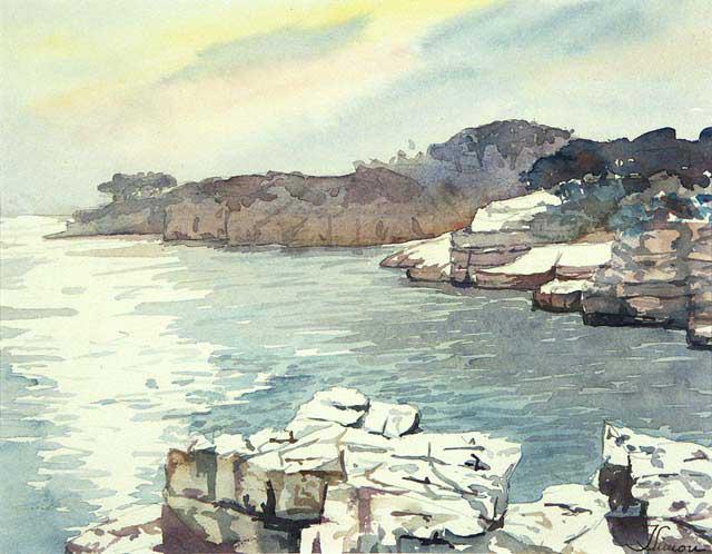 Crépuscule sur la presqu'île de Port-Miou - Aquarelle